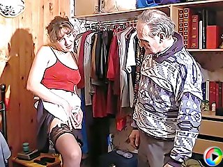 Slutty maid in black hold-up stockings sits on old grandpa's face smothering him with her young dripping wet pussy