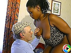 Nubile ebony cutie giving a great blowjob to an old French grandpa and riding his veteran cock in reverse position
